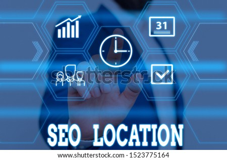 Writing note showing Seo Location. Business photo showcasing process to optimize pages on your site to show for organic Male wear formal work suit presenting presentation smart device.