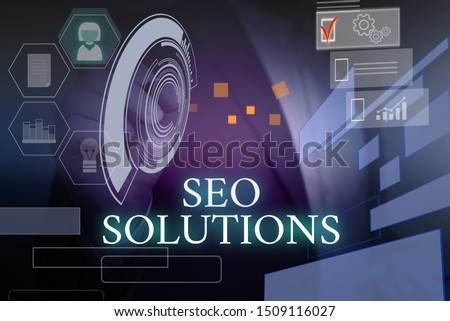 Writing note showing Seo Solutions. Business photo showcasing Search Engine Result Page Increase Visitors by Rankings Male wear formal suit presenting presentation smart device. #1509116027