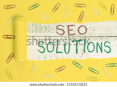 Writing note showing Seo Solutions. Business photo showcasing Search Engine Result Page Increase Visitors by Rankings. #1510115021