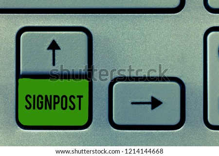 Writing note showing Signpost. Business photo showcasing sign giving information such direction and distance nearby town #1214144668