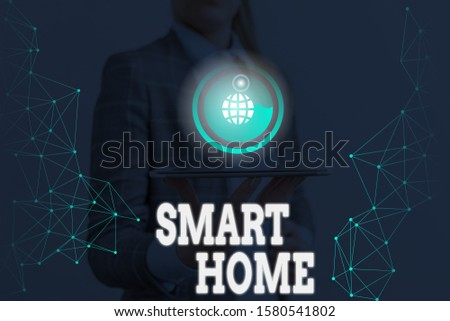 Writing note showing Smart Home. Business photo showcasing automation system control lighting climate entertainment systems. #1580541802