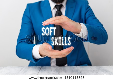 Writing note showing Soft Skills. Business photo showcasing demonstratingal attribute enable interact effectively with other showing Man holds empty paper with copy space in front of him Space.