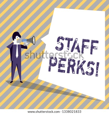 Writing note showing Staff Perks. Business photo showcasing Workers Benefits Bonuses Compensation Rewards Health Insurance.