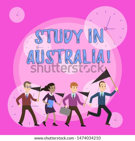 Writing note showing Study In Australia. Business photo showcasing going into foreign country order complete your studies Crowd Flags Headed by Leader Running Demonstration Meeting.