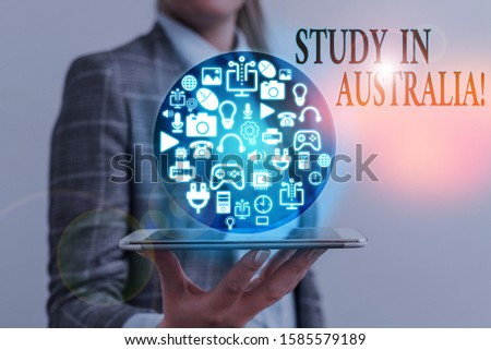 Writing note showing Study In Australia. Business photo showcasing going into foreign country order complete your studies.