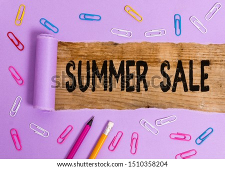 Writing note showing Summer Sale. Business photo showcasing Annual discount events that takes place during summer season. #1510358204