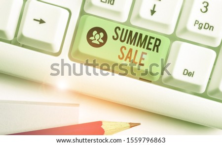Writing note showing Summer Sale. Business photo showcasing time when a store sells products at much lower prices than usual.