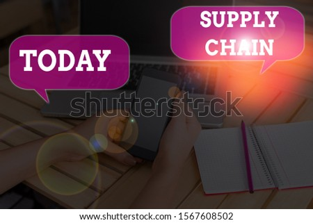 Writing note showing Supply Chain. Business photo showcasing network between a company and suppliers in producing a product. #1567608502