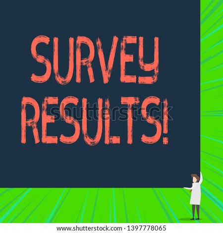 Writing note showing Survey Results. Business photo showcasing result of activity that collects or acquires statistical data.