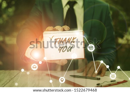 Writing note showing Thank You. Business photo showcasing replaying on something good or greetings with pleased way.