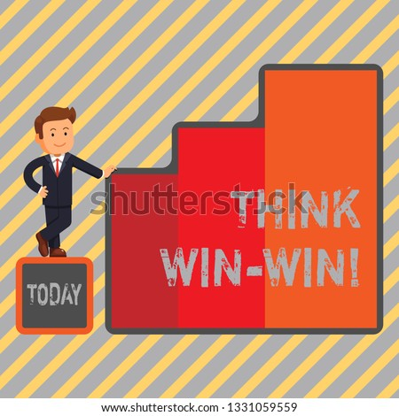 Writing note showing Think Win Win. Business photo showcasing Negotiation strategy for both partners to obtain benefits.