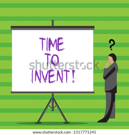 Writing note showing Time To Invent. Business photo showcasing Invention of something new different innovation creativity.
