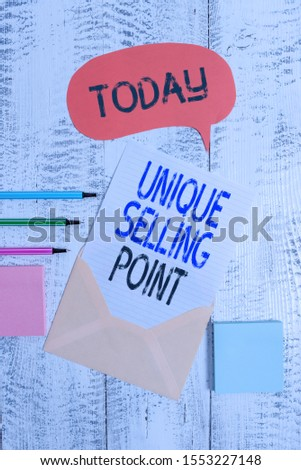 Writing note showing Unique Selling Point. Business photo showcasing Differentiate a Product Specific Features and Benefits Envelop speech bubble paper sheet ballpoints notepads wooden background.