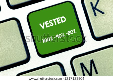 Writing note showing Vested 100 90 80. Business photo showcasing Eligible for Retirement Benefit based on years of Service