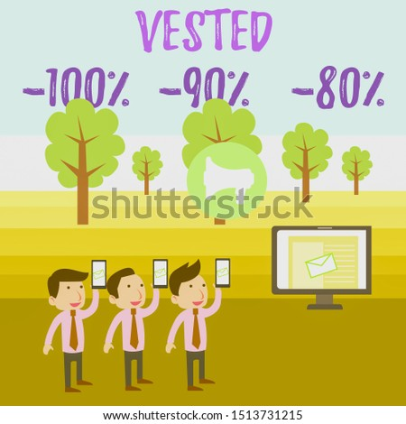 Writing note showing Vested 100 Percent 90 Percent 80 Percent. Business photo showcasing Eligible for Retirement Benefit based on years of Service SMS Email Marketing Media Audience Attraction PC