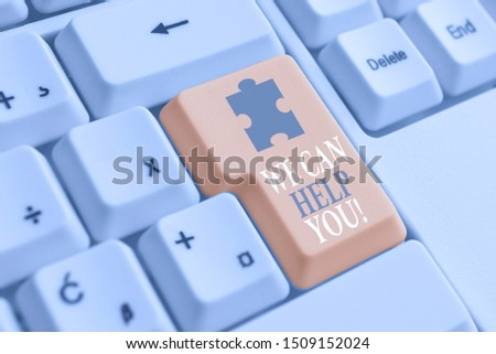 Writing note showing We Can Help You. Business photo showcasing offering good assistance to customers or friends White pc keyboard with note paper above the white background.