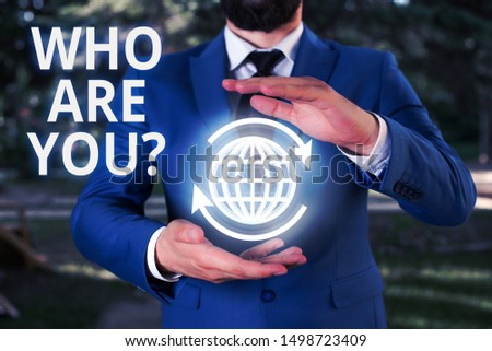 Writing note showing Who Are Youquestion. Business photo showcasing someone asking your demonstratingal background or history.