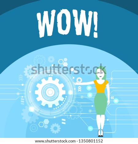 Writing note showing Wow. Business photo showcasing Expression of somebody speechless amazed overjoyed Woman Presenting the SEO Process with Cog Wheel Gear inside.