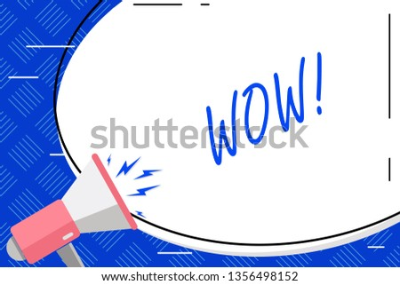 Writing note showing Wow. Business photo showcasing Expression of somebody speechless amazed overjoyed Blank White Huge Oval Shape Sticker and Megaphone Shouting.
