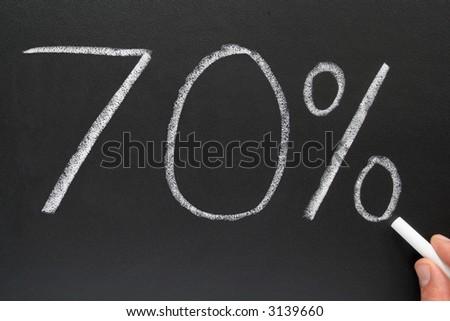 Writing 70% on a blackboard.