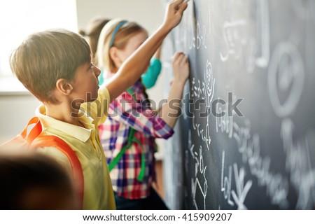 Writing on blackboard