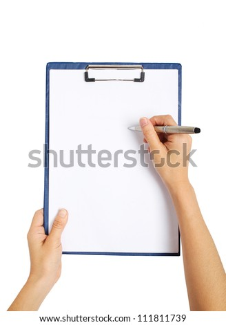writing on clipboard, isolated on white background