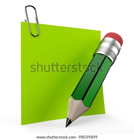 Writing on office note with a green pencil representing the symbol and concept of communication as important reminder to notify.