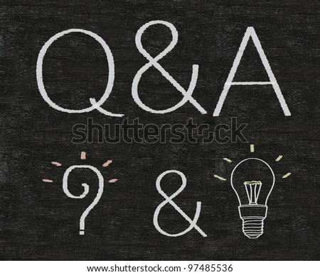 Writing Q&A, Questions and Answers on a blackboard background