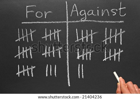 Writing scores voted for and against on a blackboard. - stock photo