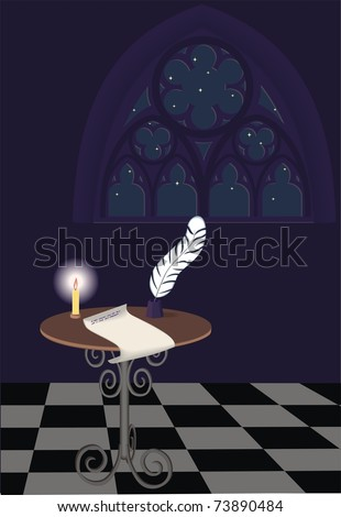 Writing table with unfinished letter and Gothic window, night