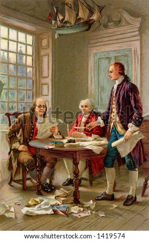 Writing the Declaration of Independence, 1776. Benjamin Franklin, John Adams and Thomas Jefferson review a draft of the Declaration of Independence, by J.L.G. Ferris. From a 1909 litho by Wolf & Co.