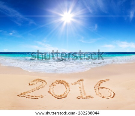 written 2016 on the beach #282288044