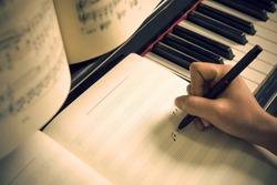 Written on the piano sheet music