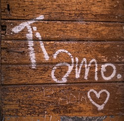 written on the wooden door I love you in Italian. High quality photo