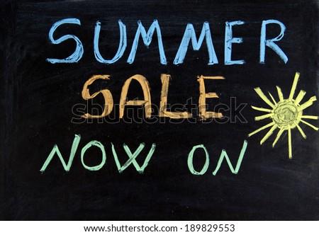 Written summer sale now on on the blackboard