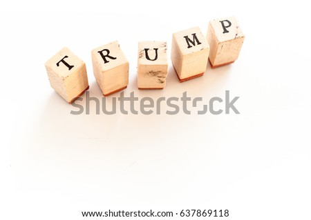 Written trump written with wooden dice #637869118