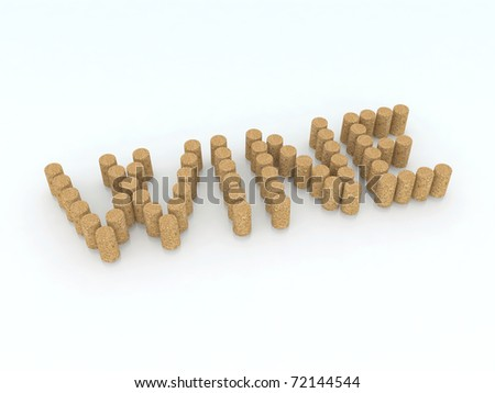 written wine with corks 3d illustration