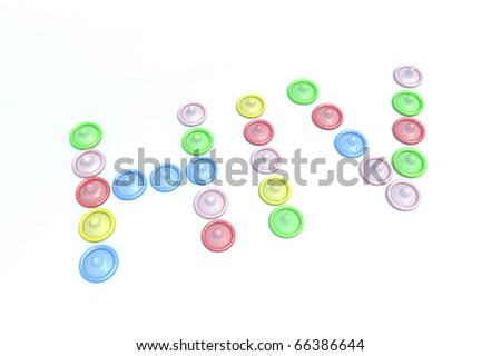 written word hiv with condoms illustration - stock photo