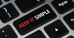 Written word Keep it simple on keyboard button