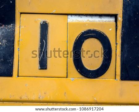 Written Wording in Distressed State Typography Found Number ten 10 ストックフォト ©