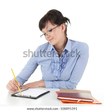 writting businesswoman with clipboard and pen, white background