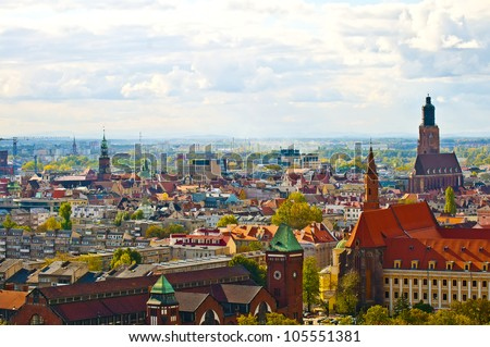 Wroclaw City center, panoramic view from cathedral