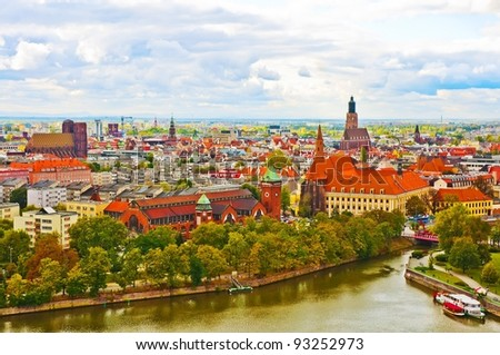 Wroclaw city panorama - view from cathedral - stock photo