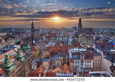 Wroclaw. Image of Wroclaw, Poland during summer sunset. #465673250