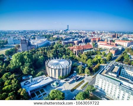 wroclaw panorama raclawicka, sky tower, widok z powietrza, from the sky Zdjęcia stock ©