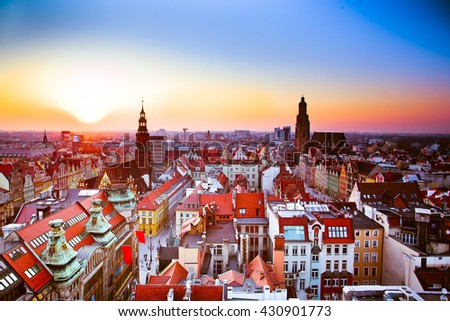 Wroclaw panorama, vibrant color #430901773