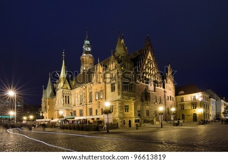WROCLAW, POLAND - MAY 29: The Market Square, Wroclaw is a medieval market square . The square is rectangular. May 29, 2011  Wroclaw is host city Uefa Euro 2012 and European Capital of Culture 2016 - stock photo