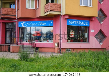 WROCLAW, POLAND � NOVEMBER 10, 2013: Shop selling mattress close by the center of the city