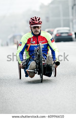 WROCLAW - SEPTEMBER 12: Disabled athlete at Wroclaw Marathon, September 12, 2010 in Wroclaw, Poland