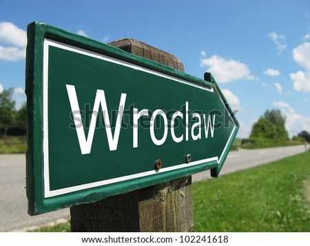 Wroclaw signpost along a rural road